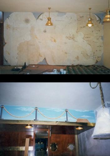 Finta carta pergamenata e finta balaustra - Acrilico su muro e legno. Ristorante / Pub - Rotta dello Zodiaco. Cecina (Livorno)