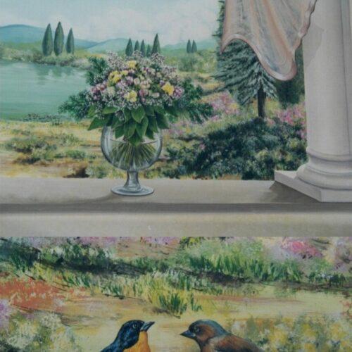 Particolare finestra: Salice con fiori e Balcone con cardellini.