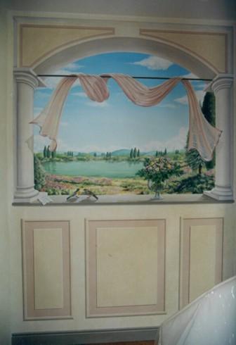 Finestra con veduta sul lago - Acrilico su tela - 3.20 x 2.80. Villa privata - Firenze