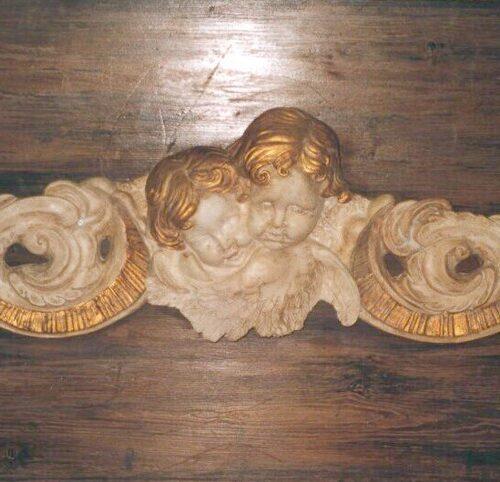 Decorazione finto legno e finto marmo statuario con inserti dorati. Privato - Firenze