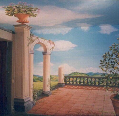 Giardino settecentesco. Decorazione eseguita su pareti e soffitto - Acrilico su muro. Rovine, vaso con fiori e albero di limone (pareti 15 x 3; soffitto 6 x 4) Villa privata - Firenze