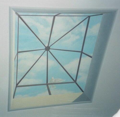 Lucernario con colomba - Acrilico su muro - 2.60 x 2.00. Casa privata - Firenze