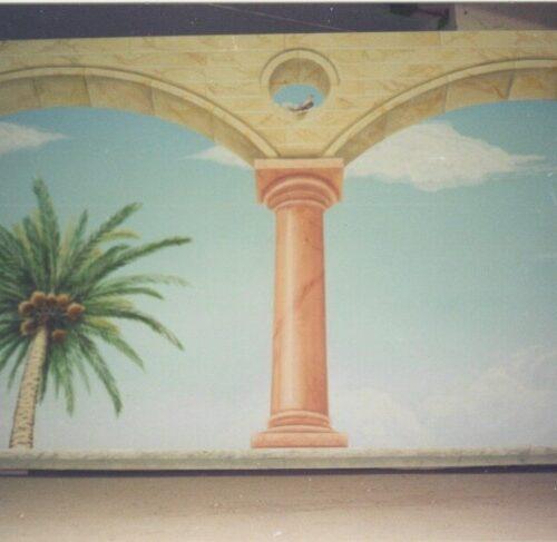 Paesaggio con palme ed elementi architettonici in tecnica Marouflage. Villa Privata - Kuwait City