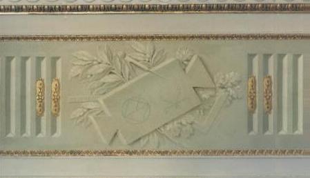 Riproduzione in tecnica antica (tempera a calce sul muro) di particolare di balza con inserti in oro zecchino. Palazzo Pitti - Museo degli Angeli - Firenze